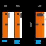 Dimensões e estrutura das Cancelas Automáticas CAME, linha GARD